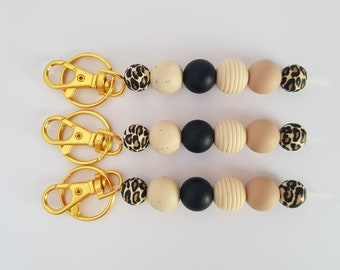 Lightweight Silicone Beads Mustard Yellow Silicone KeyringBag or Purse Charm Gift for WomenFriend Colourful Accessory Trendy Keychain