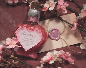 Amortentia, colour changing Love potion, magical heart bottle apothecary