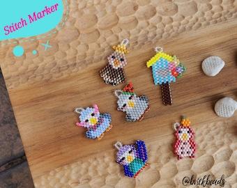 Beaded Eagle Stitchmarker / Parrot Progress Keeper / Birdhouse  Progress keeper for Knitting Crochet / Gift for Knitter / Charm