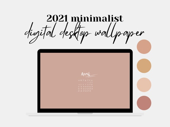 2021 Desktop Wallpaper Calendar Blush Wallpaper Laptop Etsy