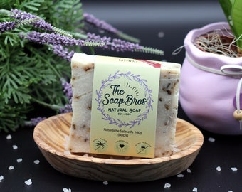 Natural soap lavender 100g piece (hand-sewn) with real flowers