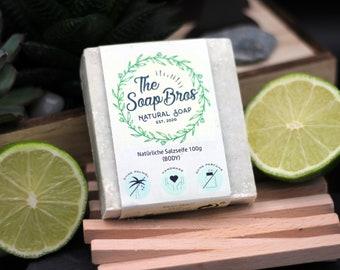 Natural soap lime lemon 100g piece (hand-sewn)