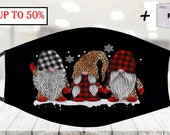 Three Gnomes In Leopard Printed Buffalo Plaid Christmas Face Mask With Filter Pocket Reusable Washable Face Mask , Best Gifts Adults