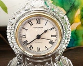 Vintage 1970s Shannon 24 Lead Crystal Mantle Quartz Clock. Colonial Style, Taiwan, Works Perfectly, 5 quot W. 7 quot H.