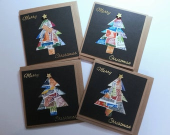"""Postage stamp Christmas cards - Set of 4 - 4 x 4"""" - Unique each one is different"""