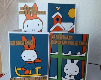 """Christmas cards - Set of 4 - 6 x 4"""" Handmade Scrabble Retro Childrens Kids Books Rabbit - 2 different sets to choose from"""