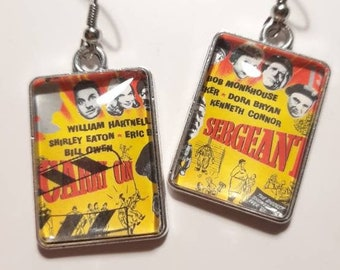 Carry On cinema GB Postage Stamp Earrings -3 designs Unusual Unique Jewellery Jewelry Films Movies Gift Retro The Mummy Dracula Frankenstein