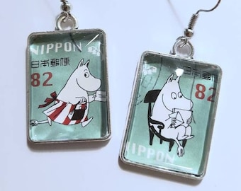 Moomin Postage Stamp Earrings - Japan 5 designs Unusual Unique Jewellery Jewelry Mum Sister Aunt Friend Gift Retro Cartoon