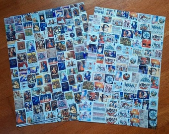 Postage stamp Christmas wrapping paper A3 2 different designs nativity santa unique