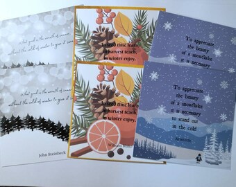 """Set of 6 Winter themed postcards - 3 different designs literary quotes William Blake Aristotle John Steinbeck Square 6 x 6"""""""