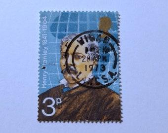 "Wigan 28th April 1973 - Framed Vintage GB Postage Stamp - 4 x 4"" Black Frame - Special Anniversary Birthday Wedding Gift Henry Stanley"