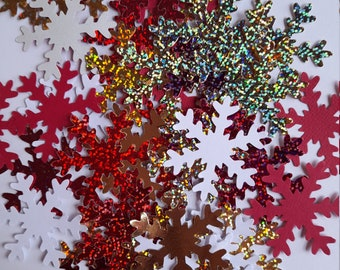 """50 large Snowflake embellishments - 2"""" - Red Gold White Hologram card - Craft supplies card making table confetti Christmas Decorations"""