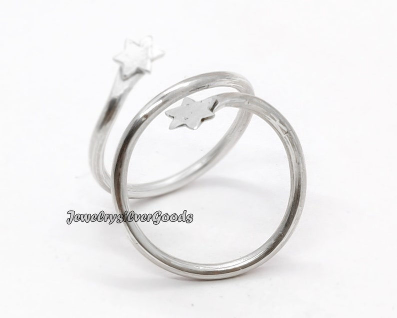 Two Star Silver Ring 100/% 925 Sterling Silver Statement Ring Brithday Ring Wedding Band Silver Ring co-615 Handmade