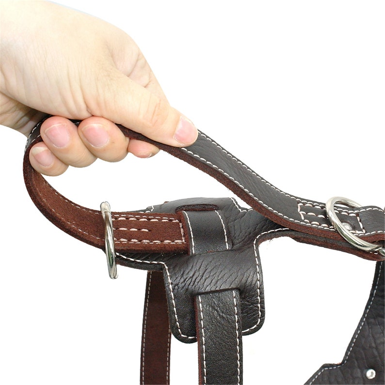 Genuine Leather Dog Harness for Large Dogs Pet Training Vest With Quick Control Handle Adjustable For Labrador