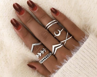 Silver Stacking Ring Set, Moon Ring, Thumb Ring, Boho Style Silver Ring
