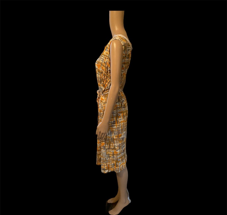 1960\u2019s Giselle Miami Designed abstract dress with tie belt ML
