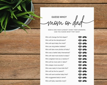 Guess Who, Mom or Dad, Printable Baby Shower Game, Mommy or Daddy, Fun Baby Shower Games