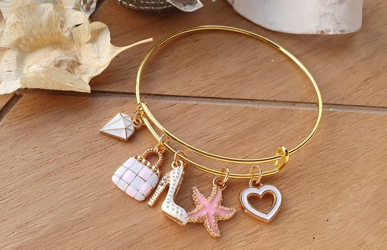white and pink purse charm BESTFRIEND CHARM BRACELET starfish bracelet golden jewelry diamond charm bracelet high heel bracelet