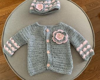 Baby cardigan with matching hat, grey, pink, handmade, crochet