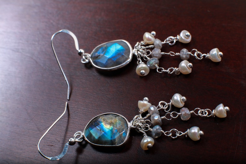 Natural Labradorite Oval Free Form Bezel and Fresh Water Pearl Labradorite Clusters in .925 Sterling Silver Earrings