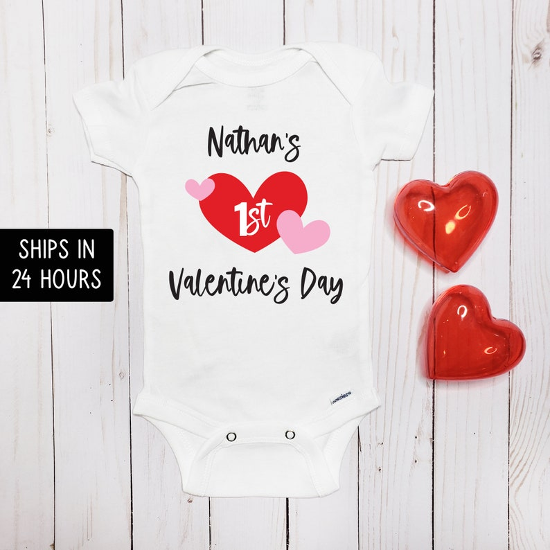 Personalized Name 1st valentine/'s Day Bodysuit for Girl or Boy First Valentine/'s Day Baby Onesie\u00ae Baby First Valentine/'s Gift