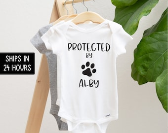 Protected by Dog Onesie®, Newborn Outfit, Custom Baby Shower Gift, Cute Sibling Bodysuit