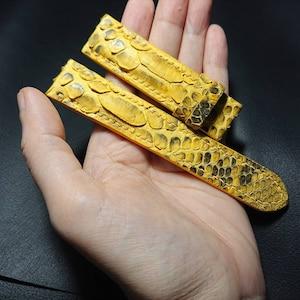 Genuine Python Leather Bracelet Sterling Silver 925 Snap Lock Cross Pattern Unisex 6mm