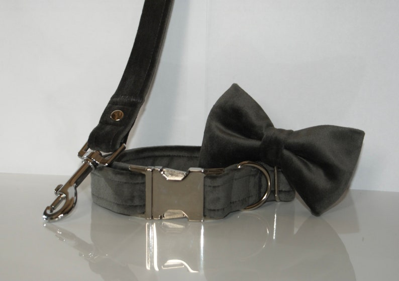 Charcoal Grey Velvet Dog Collar,Lead and Bow Set