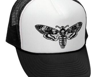Death/'s-head hawk moths embroidered winter hat in black