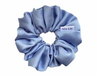 Sky Blue Hair Scrunchie   Satin Scrunchie   Hair Tie   Hair Elastic