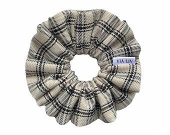 Cream Plaid Hair Scrunchie   Neutral Scrunchie   Hair Tie   Hair Elastic