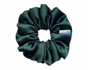 Emerald Green Hair Scunchie   Green Scrunchie   Satin Scrunchie   Hair Tie   Hair Elastic