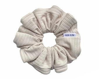 Ribbed Ecru Hair Scrunchie   Cream Scrunchie   Neutral Scrunchie   Hair Tie   Hair Elastic