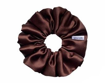 Chocolate Satin Hair Scrunchie   Brown Hair Scrunchie   Satin Scrunchie   Hair Tie   Hair Elastic