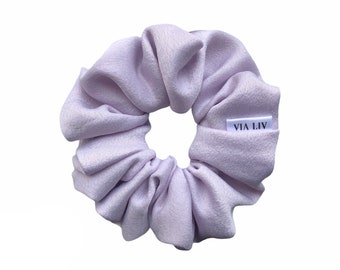 bunny ear scrunchie purple scrunchie lamb print scrunchie lilac scrunchie with tie Lilac sheep print scrunchie Easter scrunchie