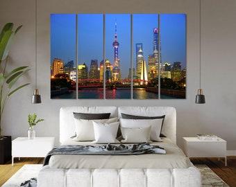 Shanghai Night Cityscape Print Decor Shanghai Contemporary Wall Arts Shanghai Creative Art for Home Shanghai Painting Arts Wall China Photo