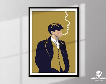 Peaky Blinders Inspired Print   Tommy Shelby Illustration   Poster   British   Gangster   TV Series Poster   Minimal Print   Wall Art