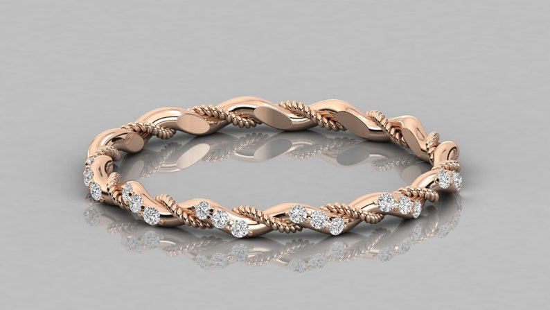 14CT Real Gold Wedding Band For Women Round Cut Natural Diamond Wedding Stacking Band Diamond Twisted Stackable Minimalist Band