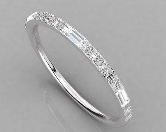 Natural Baguette Round Diamond Wedding Platinum Band, Half Eternity Diamond Wedding Platinum Band, Minimalist Platinum For Women Girl