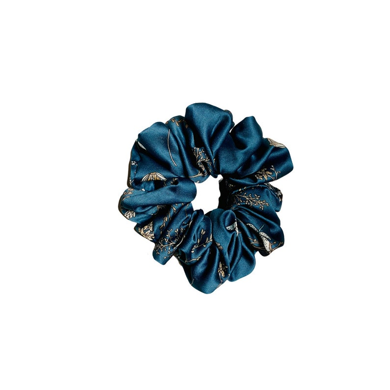 Handmade Oversized XXL Floral Silky Print Scrunchies; Blue Floral Scrunchies; Gift for her;Comfy Hair Accessory for women.