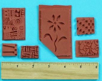 GRAB BAG of rubber stamp TEXTURE designs  clay collage pmc 6 pcs  Set 43 by Sandi Obertin jewelry stamping