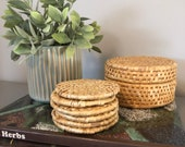 Vintage Rattan Boho Coaster Set in Basket