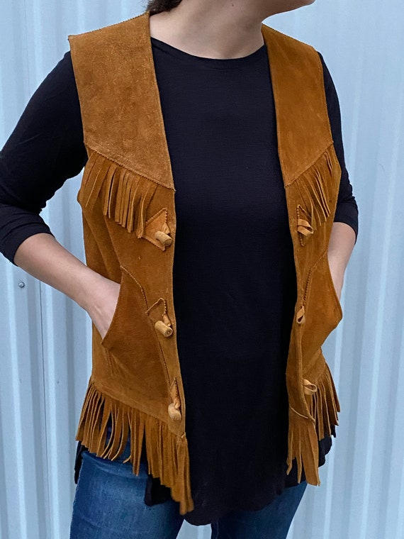 Vintage Western Suede Leather Vest with Fringe