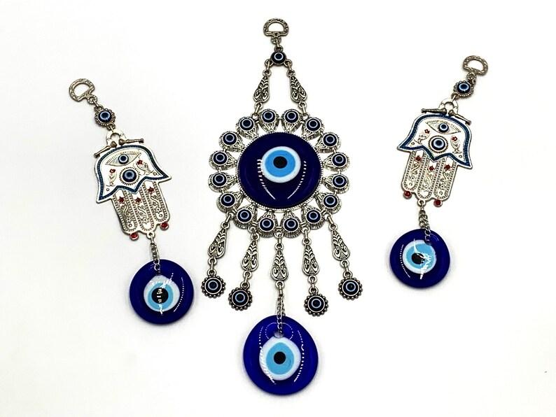 Blue Evil Eye Hamsa Hand Wall Hanging Amulet Ornament Set of 3 Home Decor /& Charm Gift Turkish Greek Large Blue Evil Eye