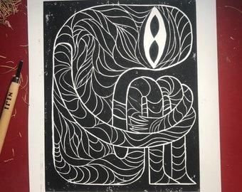 Mummy Woodblock Print