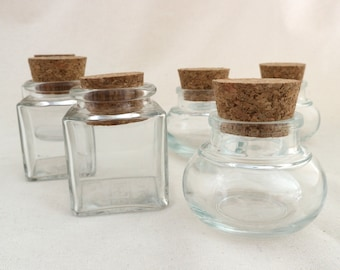 Ancient cork glasses for storing incense, spices, trifles - bulbous or square