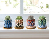 Set of 4 Handmade Ceramic Small Plant Pots, Colorful Pattern Succulent Plant Pot, Planter Flower Pot with Bamboo Tray