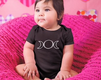 Triple Moon Cute Baby Onesie Bodysuit  Pastels /& Witchy Black  Goth Witch Wicca Kids Baby Girl Boy  Baby Clothes Made in the UK