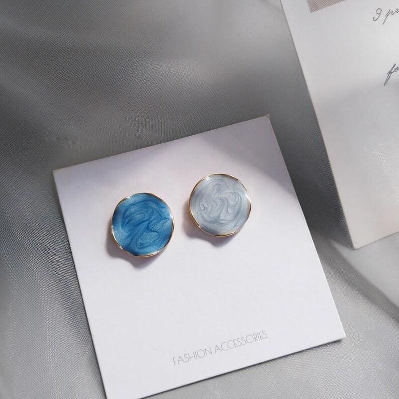 Golden Edge Gradient Blue Elegant Earrings Free shipping!