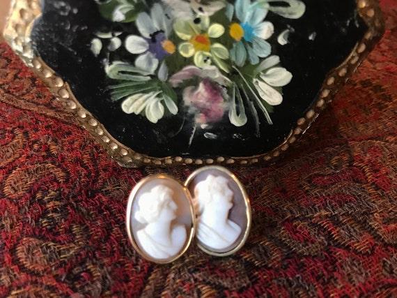 Cameo Earrings, Gold Filled Cameo Earrings, Pierce